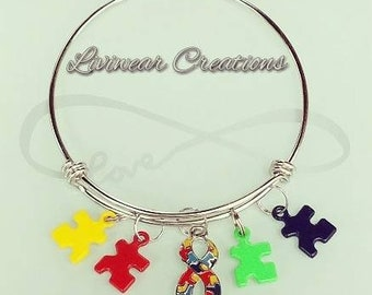 Autism Awareness Charm Bangle Bracelet, Stainless Steel, Gifts