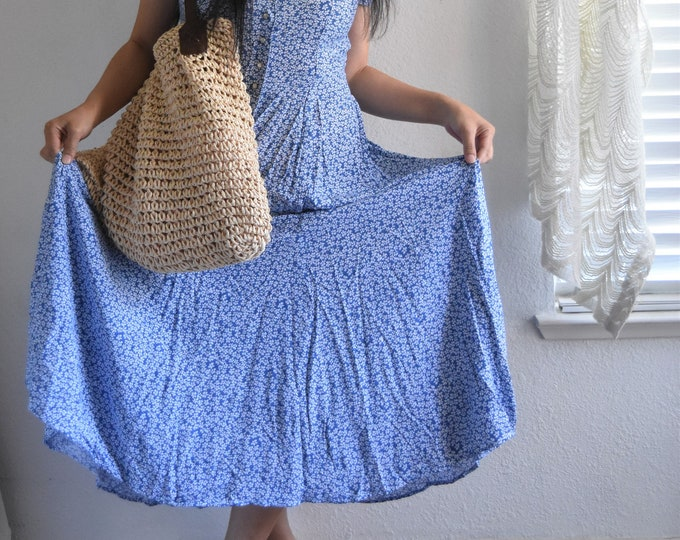 woven straw netting boho shoulder bag / beach bag / market tote