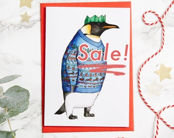Penguin in a Blue Christmas Jumper Card: A6 Birds in Hats Christmas Card, Penguin card, tacky jumper, emperor penguin