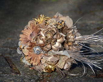 Rose Gold Bridal Bouquet. Succulent Bouquet. Brooch Bouquet. Metallic Flowers. Copper and Bronze Bouquet. Steampunk Bridal Bouquet.