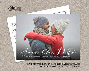 Handwriting Photo Save The Date Card | Diy Printable Calligraphy Script Font Wedding Save The Dates With Picture | Double Sided Postcards