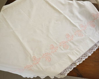 Vintage Fabric,  Vintage Curtain Panel, Lace