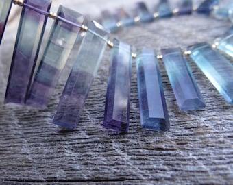 RESTOCKED Unique Afghan Purple Blue Aqua Rainbow Fluorite  Top Drilled Baguette   25-28x6-6.25mm   Pairs & Focals - Please Read Description