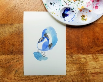 BLUE // Abstract Wall Decor Print, COLORS Series, Watercolor Painting, Pen Illustration, 4x6