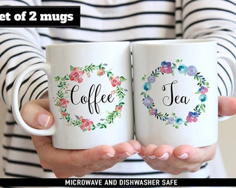 Set of Coffee and Tea Mugs - Floral Mugs - Makes a Great Hostess Gift