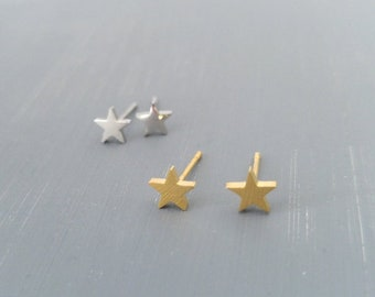 Tiny Star Stud Earrings , Stud Earrings , Star Gold Earrings , Tiny Star Earrings , Gold Star Stud Earrings , Silver star earrings