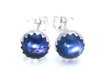 Iolite Gemstone Stud Earrrings set in Sterling Silver, iolite Jewelry