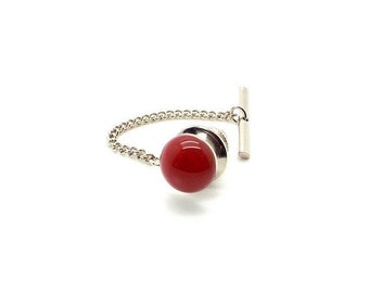 Spiced Apple Tie Tac - Red Carnelian Tie Tac - Red Tie Tac with Chain