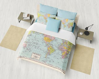 World Map Duvet Cover - warm comforter,  bed bedroom, travel decor, cozy soft, pastel, winter,  wanderlust, atlas, geography, cartography