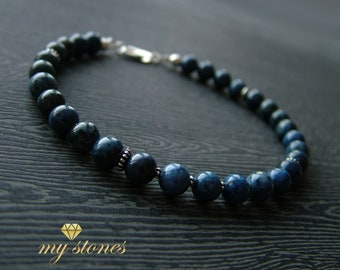Male bracelet made of dewmortierite and 925 sterling silver