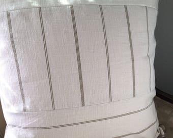 Tan Cream Pillow Cover 18|20|22|24 inch Pillow Cover Neutral Pillow Cover Neutral Home Decor Tan Stripe Pillow Cover Blue Tan Stripe Pillow