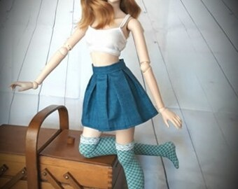 blue pleat skirt to fit Smartdoll 1/3 scale