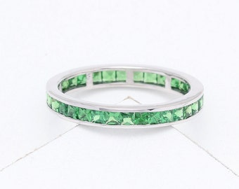 Tsavorite Green Garnet Eternity Band Ring in 14K Gold (3ct tw) : sku 901-14K (Watch Video)