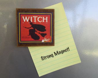 WITCH Vintage Graphic Magnet Halloween Art Made in USA
