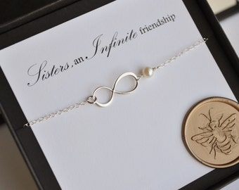 Sterling Silver Sister's Infinity Charm Necklace with Genuine Freshwater Pearl