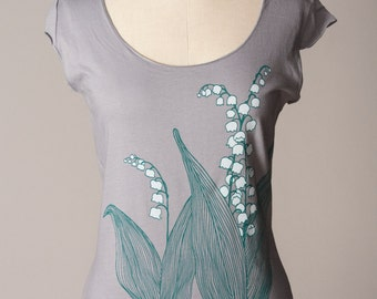 lily-of-the-valley women's shirt, lily of the valley shirt, gray shirt, scoop neck, cap sleeves