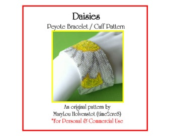 Peyote Bracelet Pattern ... DAISIES ... Spring Flowers . Floral . Bright . Sunny . Yellow . White . Summery . Bonus Pattern . 3 for 2