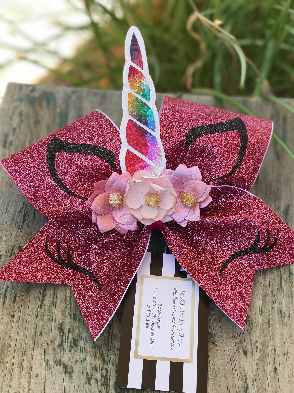 Glitter Pink Unicorn Cheer Bow # Muebles Dencina Granada