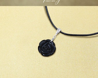Protection pendant, Black Obsidian pendant necklace, Protection Jewelry, Carved Rose pendant, Negativity Neutralizer, InfinityCraftArts