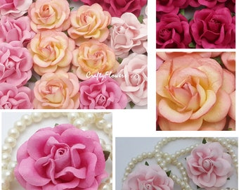 10  Paper Flowers for Baskets Scrapbooks Wedding Faux Cupcake Cards Dolls Crafts Roses Variations Listing of Pinks zR77