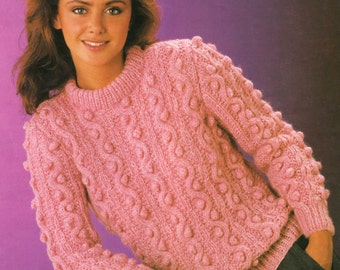 Knitting Pattern PDF Ladies Bobble Stitch Sweater