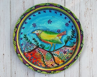 Handpainted Bespoke Bird-Sparrow Decorative Porcelain Plate - Any Occasion - Dinner - Tea, Coffee and Cake