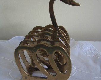 Swan letter rack, brass, 4.5 inches tall, toast rack
