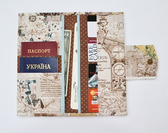 Family travel wallet etsy travel wallet family passport holder travel document organizer boarding pass cover passport wallet world map compass gumiabroncs Image collections