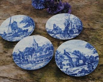 Delft Wall Plates Plaques CHEMKEFA 4 seasons wall plates Delft blue