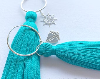 Turquoise Tassel Earrings. Sterling Silver Earrings & Silk Tassels.