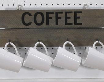 Four Coffee Cup Holder Rustic Farmhouse  Coffee Mug Holder Office Mug Storage Tiny Home Kitchen Decor Reclaimed Wood