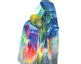 Quartz Crystal Art - Colored Pencil Print by Headspace Illustrations