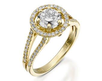 2 carat Moissanite engagement ring-Halo Engagement Ring- Gold Ring-Charles & Colvard Moissanite Ring -Promise ring-Art deco engagement ring
