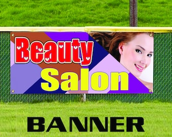 Beauty Salon All Weather Promotional Advertising Retail Vinyl Banner Sign