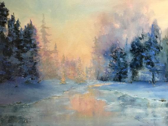 Golden Landscape, Dawn Art Painting, Landscape Painting, Nocturne Decor