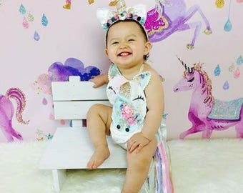 Unicorn themed romper with headband. Newborn-up to 2t photo prop/cake smash set.