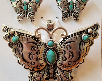 Butterfly with turquoise pendant set, butterfly, turquoise, earrings, butterfly pendant, butterfly earrings