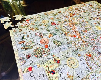 Old World Medieval Map Puzzle - Olaf Magnus - Carta Marina, 1539 - Lasercut Jigsaw Puzzle and Magnetic Puzzle