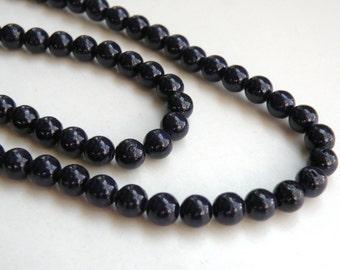 Riverstone beads in dark purple round gemstone 6mm full strand 4291GS
