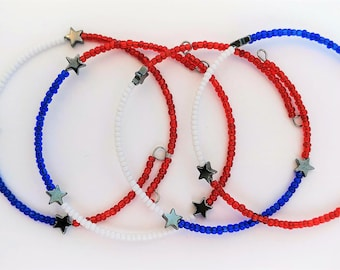 Fourth Of July Independence Day Red White Blue Stars Memory Wire Beaded Bracelet