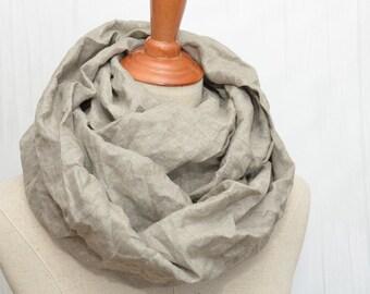Linen scarf, Linen Infinity Scarf, Chunky Scarf, Natural Linen. Original color.