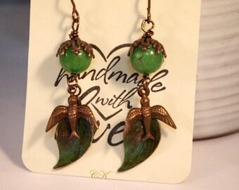 Leaf and Bird Earrings Hand Patina Earrings Botanical Earrings Bohemian Earrings Boho Chic Dangle Pierced or Clip-on Earrings Vintaj Brass