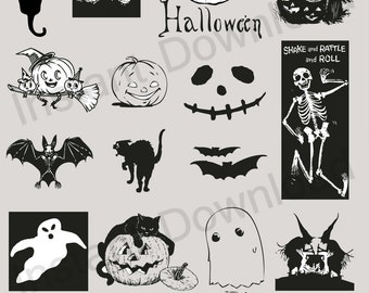 Halloween Vector Set 01 - Black Cat, Pumpkins, Skeletons, Ghosts and Bats Vector EPS Illustration (09882)
