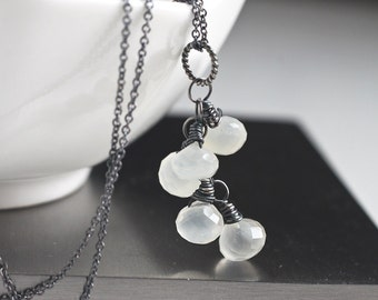 White Moonstone Drop Necklace Wire Wrapped in Oxidized Sterling Silver, Cluster June Birthstone