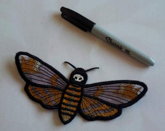 UK Gothic Death's Head Moth, Hawk moth lace applique, trimming, choker centerpiece, decoration, patch