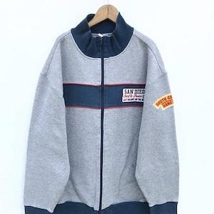 Vintage 90's Hang Ten Surfing Brown Colour Sweater Zipper Stripe Sweatshirt Large Size Jacket Jumper Pullover mBlcWW