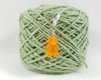 Orange Gummy Bear Lobster Clasp Stitch Marker, Progress Keeper, Zipper Pull, Stitch Keeper, Dangle Charm