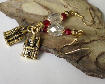 Fantasy Earrings, Fantasy Jewelry, Crystal Chandelier Earrings, Gold Castle Earrings, Cinderella's Castle, Beaded Charm, Beaded Crystal