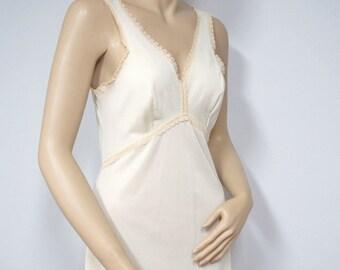 1960's Nightgown Vintage Slip Dress Nightgown Beige Silky 1950's Wonder Maid Size 34