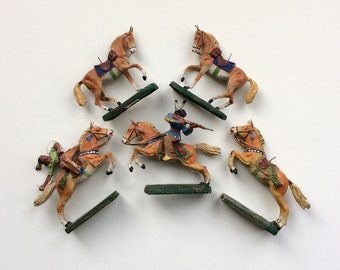 Antique Elastolin Indians & Horses, Germany, Wild West Warriors, 1930s